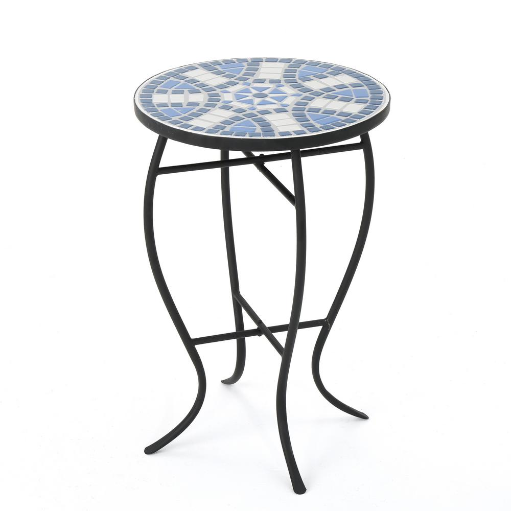 noble house round metal and stone outdoor side table the tables mosaic large floor mirror modern sofa kirklands bar stools furniture ers meyda tiffany lamp bases target recliners
