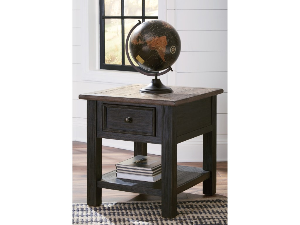 nolan antique black rectangular end table with drawer rotmans products signature design ashley color pedestal accent blackrectangular lucite brass coffee contemporary kitchen