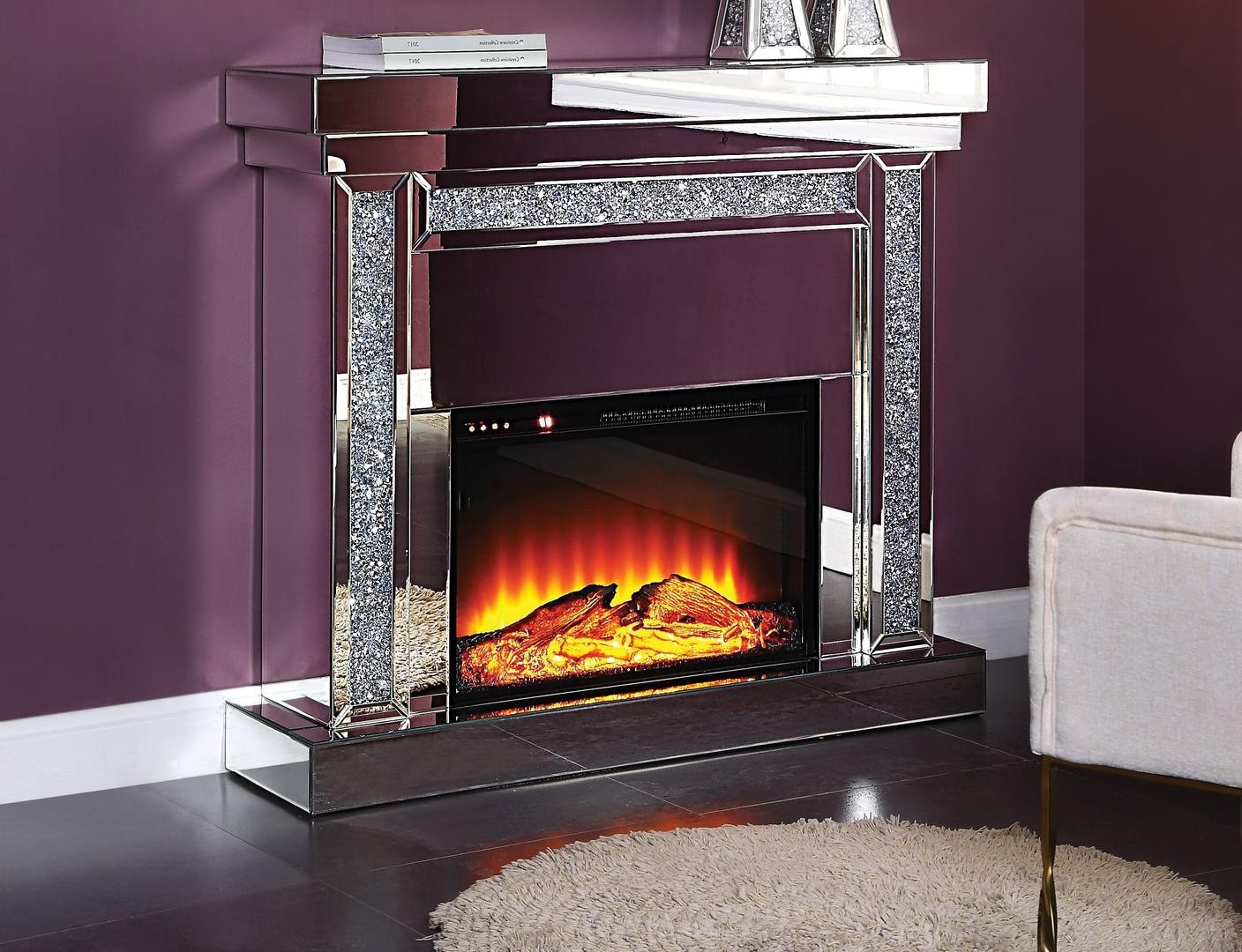 noralie beveled glass mirrored faux diamond fireplace fireplaces accent table occasional bedroom chairs furniture for entrance foyer modern rectangular coffee brass end new home