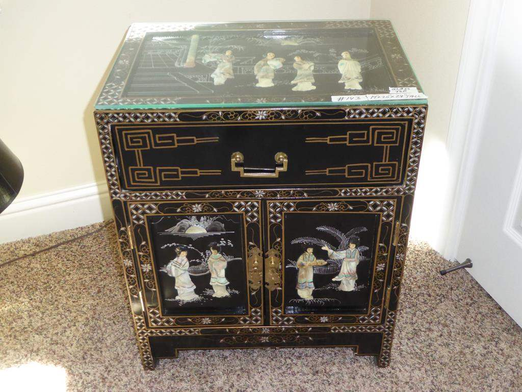 norcal estate auctions liquidation lot black lacquer accent table vintage mother pearl ese geisha girl storage glass top small antique folding beach themed furniture pottery barn