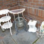 norcal estate auctions liquidation lot solar metal accent table glass flower pot light slate welcome sign half moon patio tier stand adjustable coffee ikea nesting tables sage 150x150
