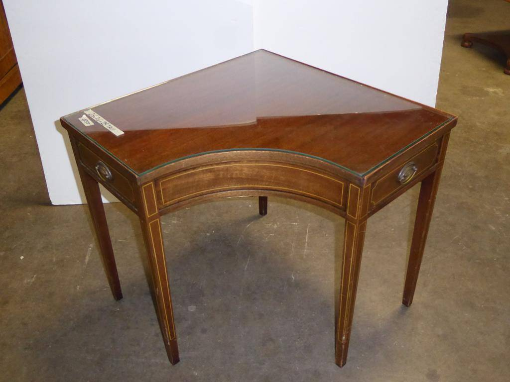 norcal estate auctions liquidation lot wood corner accent table vintage brandt mahogany with drawers glass top worlds away furniture vinyl lace tablecloth round for garden blue
