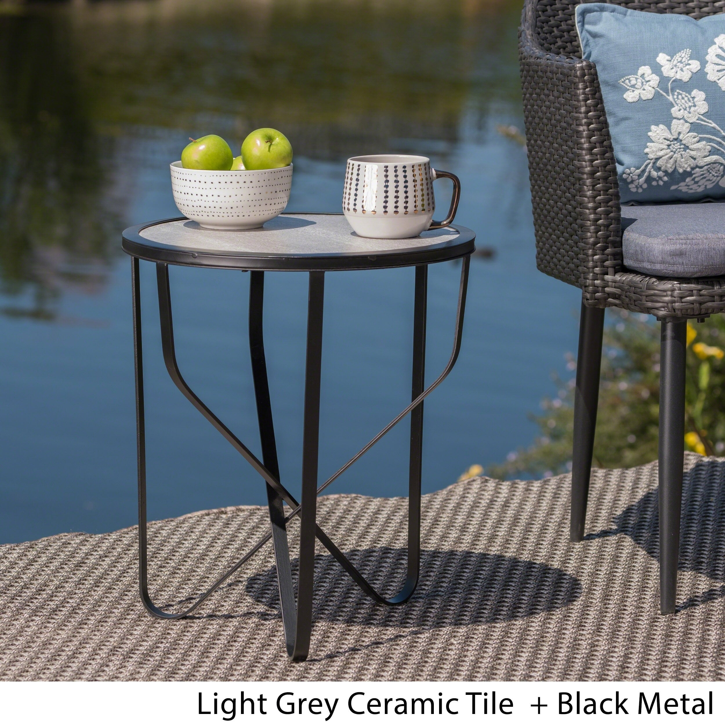 norfolk outdoor inch ceramic tile side table christopher knight home free shipping today mila square accent barn door ideas glass chairside mirrored cube coffee cool nightstands