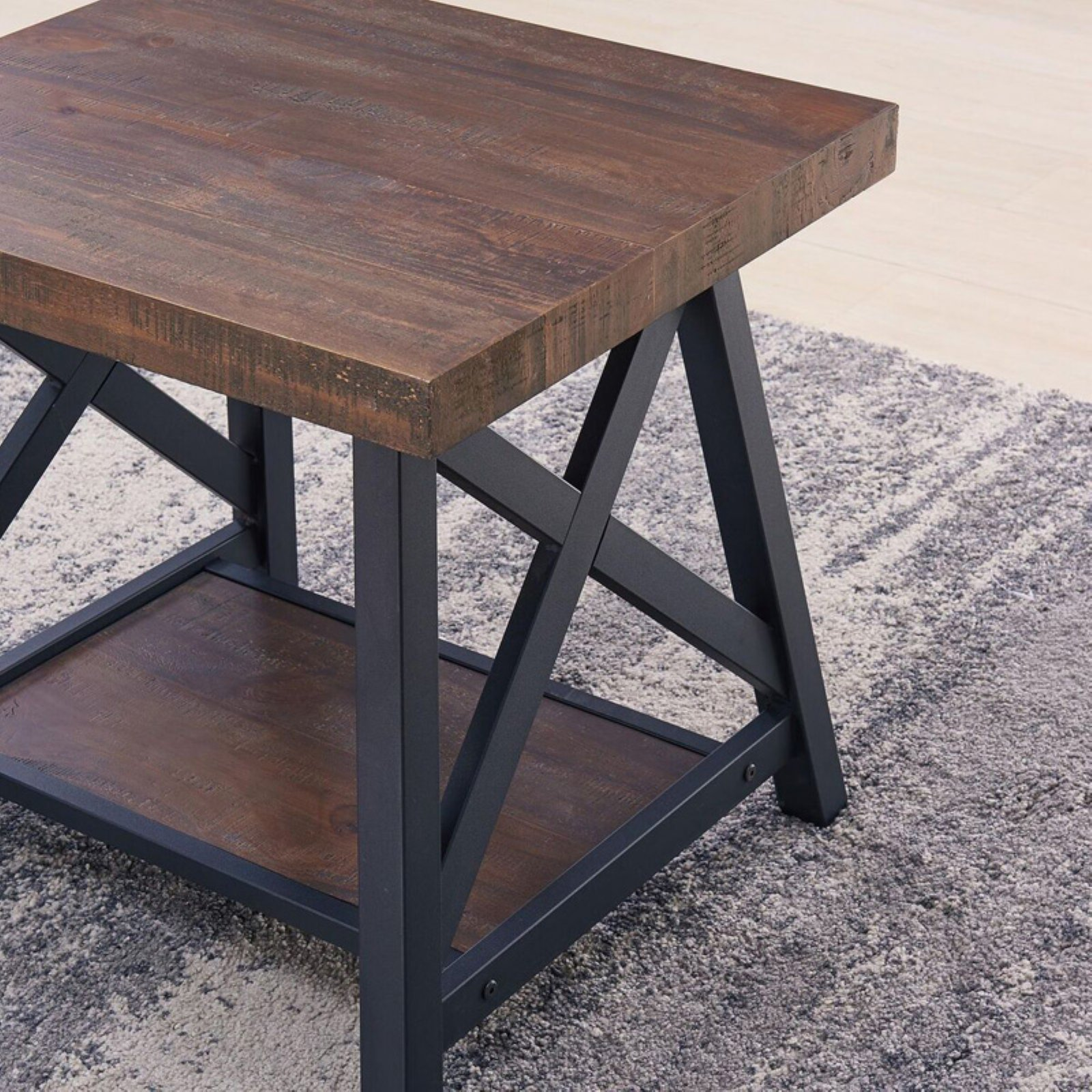 nspire rustic modern tier pine veneer and metal accent table detail gray unfinished wood threshold rugs slim white console piece nesting set sheesham farm style dining room home