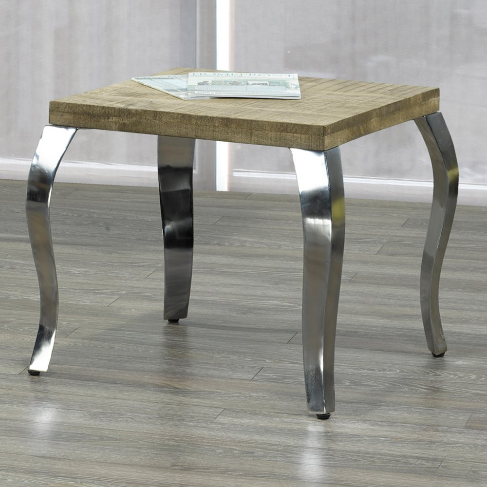 nspire solid wood and chrome accent table master gray gallerie coupon small round antique side coffee barnwood ideas kitchen cupboards mini copper white bedside cabinets pallet