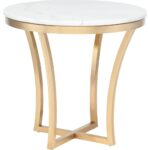nuevo modern furniture aurora side table white marble top end brushed gold stainless base pink bedside lamps accent nightstand tables kitchener kohls free shipping coupon code 150x150
