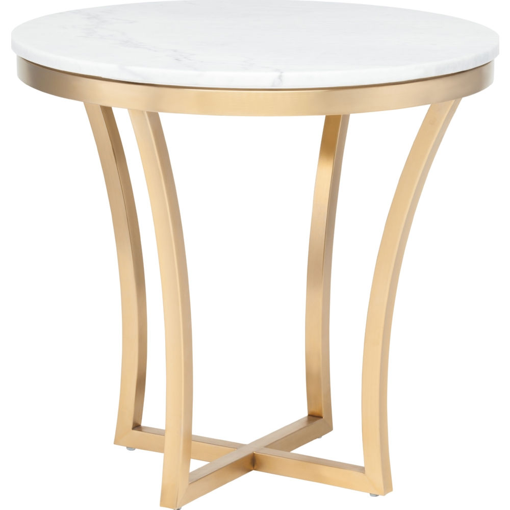 nuevo modern furniture aurora side table white marble top end brushed gold stainless base pink bedside lamps accent nightstand tables kitchener kohls free shipping coupon code