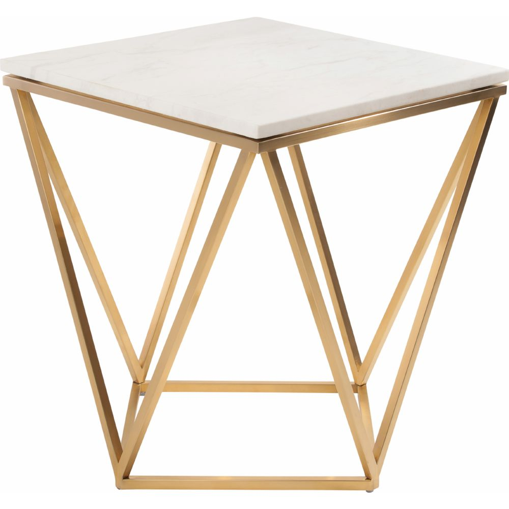 nuevo modern furniture jasmine side table white marble accent geometric gold brushed stainless base small garden only industrial cart coffee ethan allen with drawers baskets