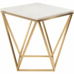 nuevo modern furniture jasmine side table white marble gold accent geometric brushed stainless base inch round carpet cover strip baroque console living room pieces timber top 150x150