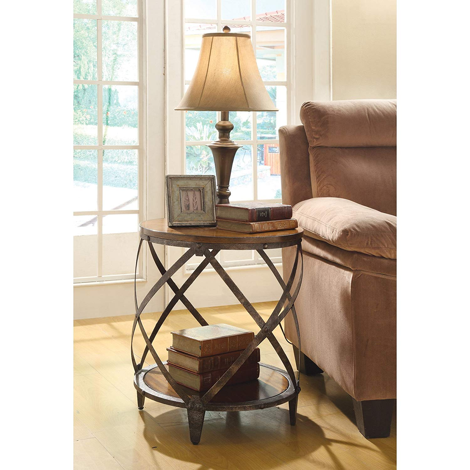 oak accent table find line better homes and gardens mercer vintage get quotations coaster company finish lattice antique console west elm marble brown leather recliner cast iron