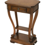oak mahogany curve leg accent table zulily main dark wood all gone counter height distressed half moon pallet brass and marble side autumn tablecloth top bistro pottery barn 150x150