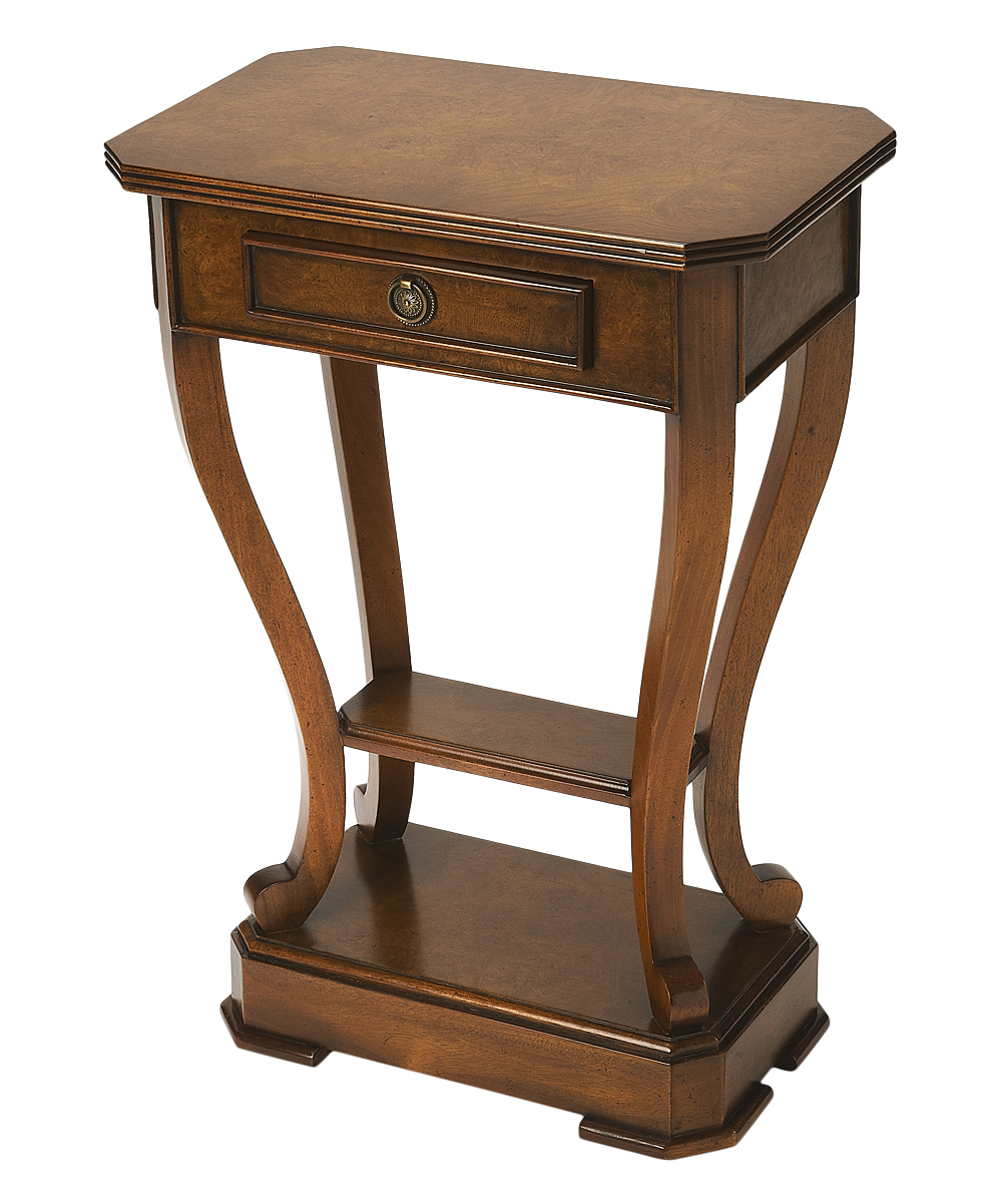 oak mahogany curve leg accent table zulily main dark wood all gone counter height distressed half moon pallet brass and marble side autumn tablecloth top bistro pottery barn