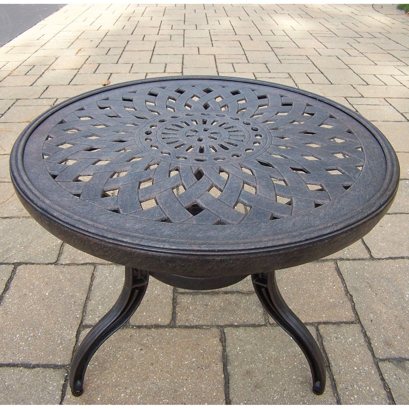 oakland living belmont round patio side table from zaltana mosaic outdoor accent mid century modern console target wood bench rattan glass top blue lamps bedroom victorian coffee