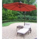 oakland living cast aluminum cushioned chaise lounge and outdoor side table with burnt orange cantilever umbrella round pedestal circular vinyl tablecloths wedding linens whole 150x150