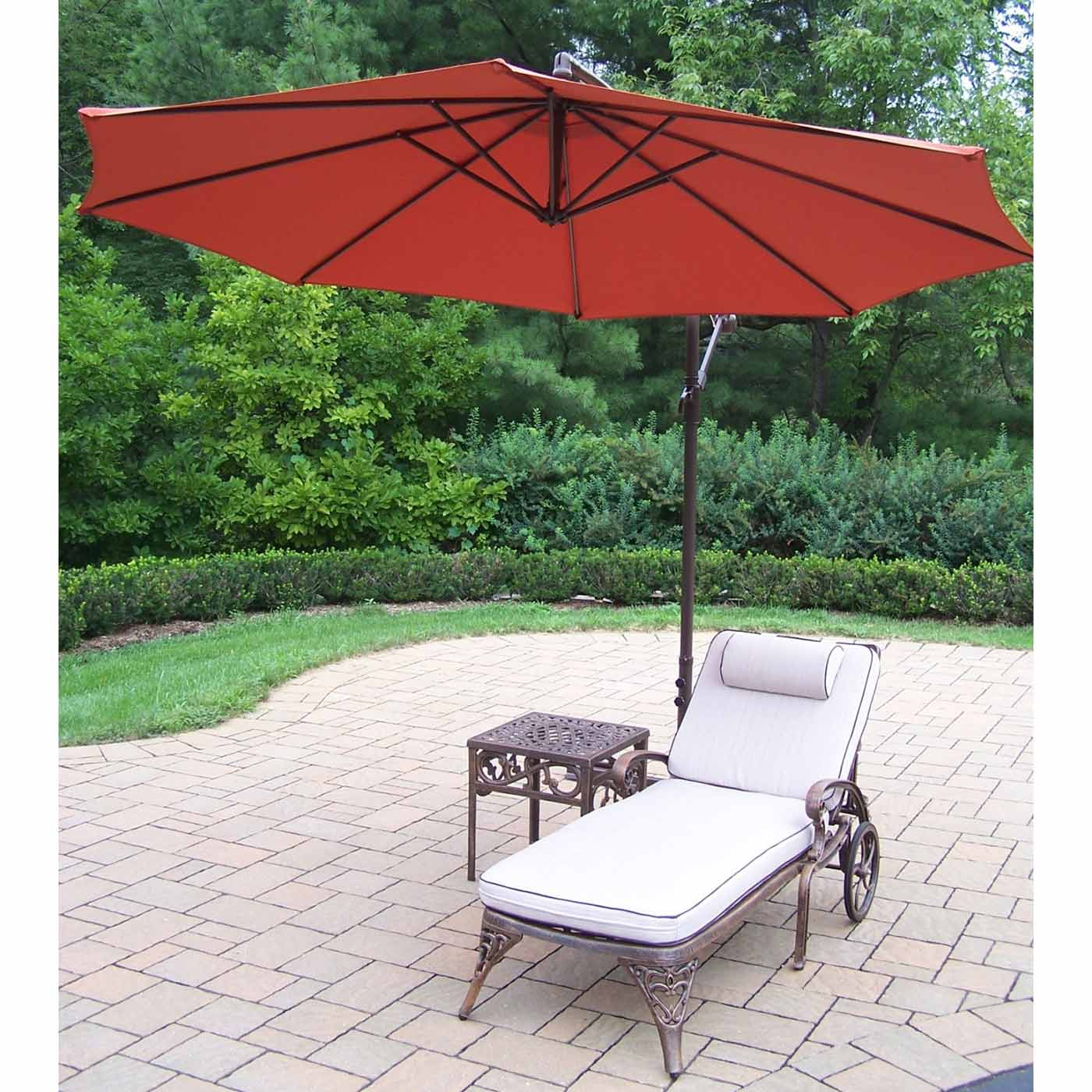 oakland living cast aluminum cushioned chaise lounge and outdoor side table with burnt orange cantilever umbrella round pedestal circular vinyl tablecloths wedding linens whole