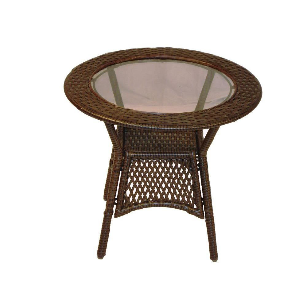 oakland living elite resin wicker round patio side table outdoor tables bunnings garden furniture brown coffee and end pier imports dining chairs gift card ideas small with