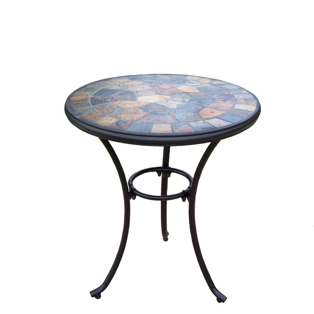 oakland living stone art patio bistro table the outdoor tables mosaic accent decorative trunks desk trestle legs black lamp for room marble top coffee toronto sofa with chairs