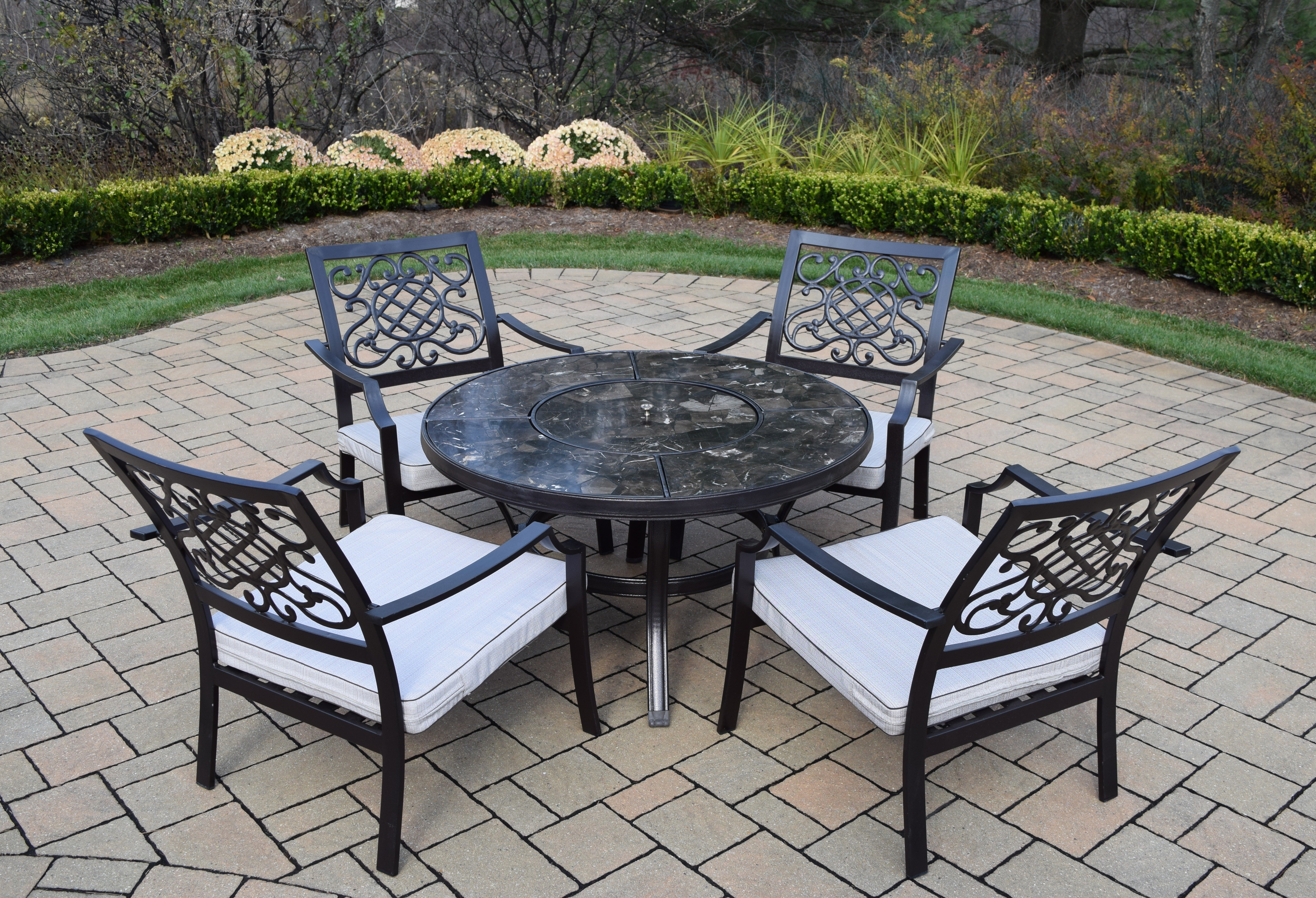 oakland living stone art piece chat set with cushions middletown accent patio table marble furniture pub chairs white metal garden battery power pack for lamp kitchen vanity