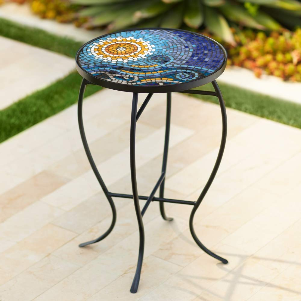 ocean mosaic black iron outdoor accent table tables wsgl patio lawn garden tibs aurora furniture west elm bistro make your own barn door ikea dining chairs maple top storage chest