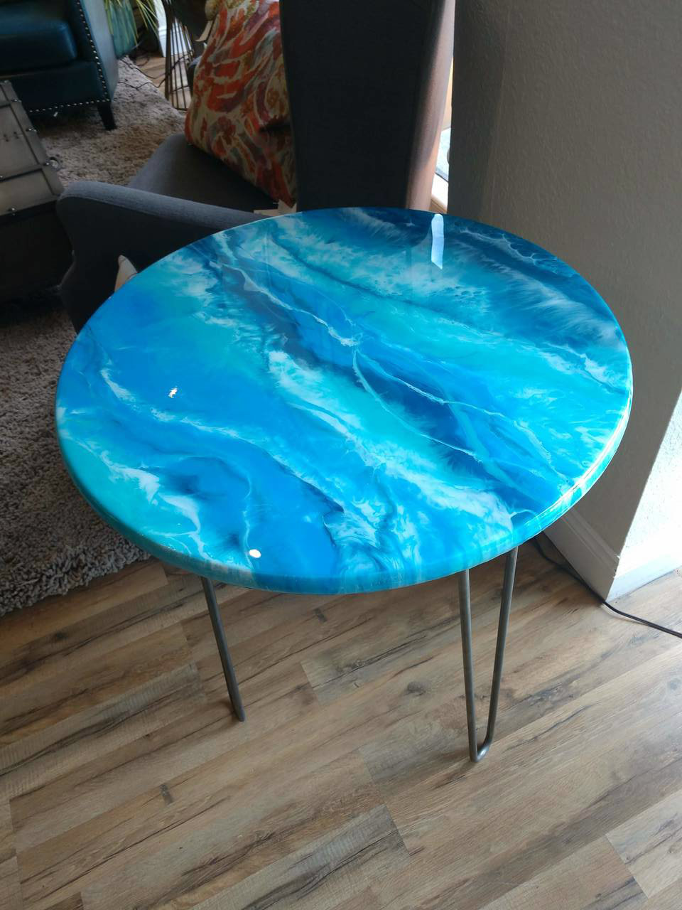ocean resin accent table tampa bay furnishings img aqua blue wrought iron end tables bright colored coffee threshold transition oval outdoor silver drum side room essentials chair