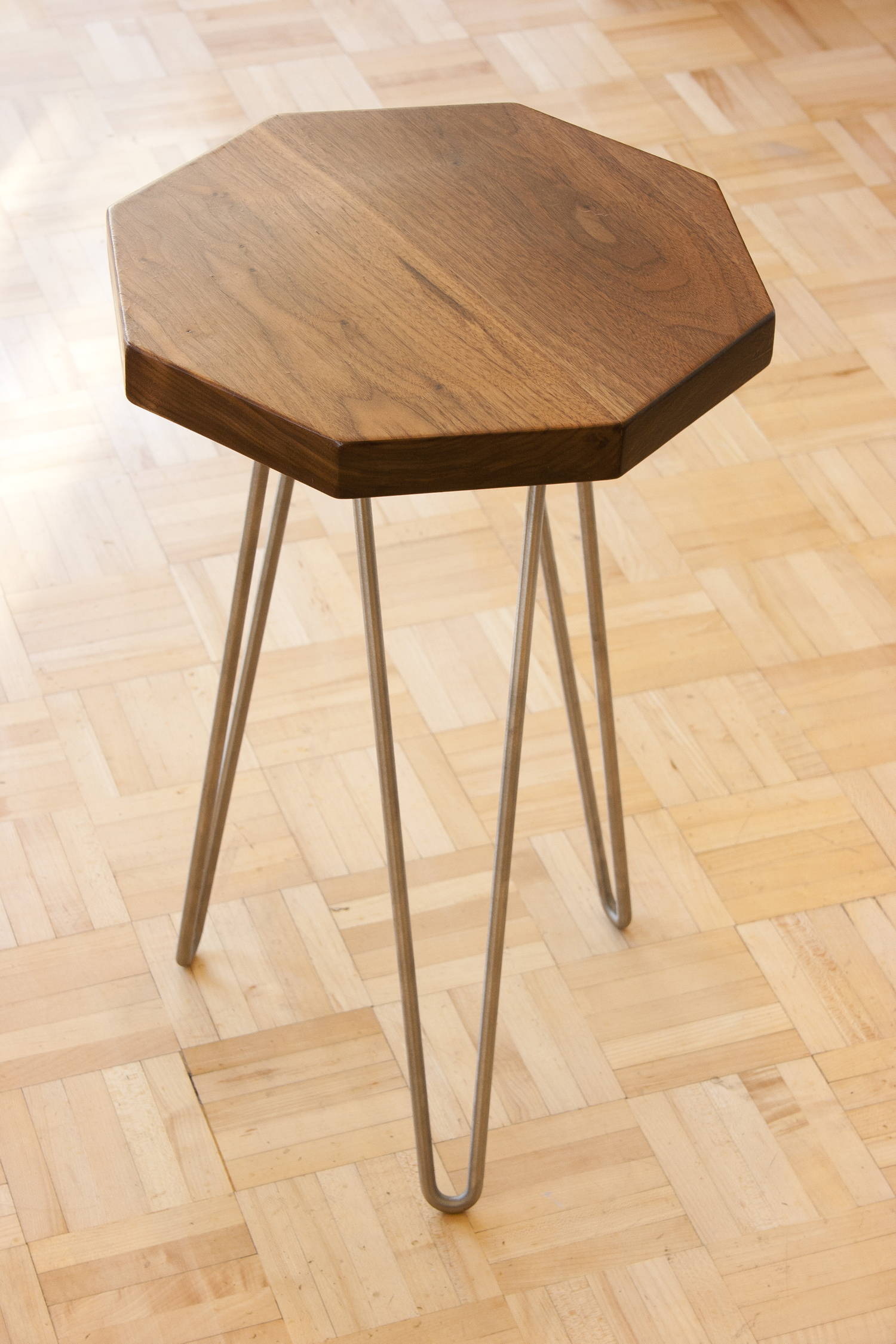 octagonal accent tables bay area custom furniture tira hairpin leg table solid walnut end with unique design completed brushed steel legs pottery barn wood and iron coffee black