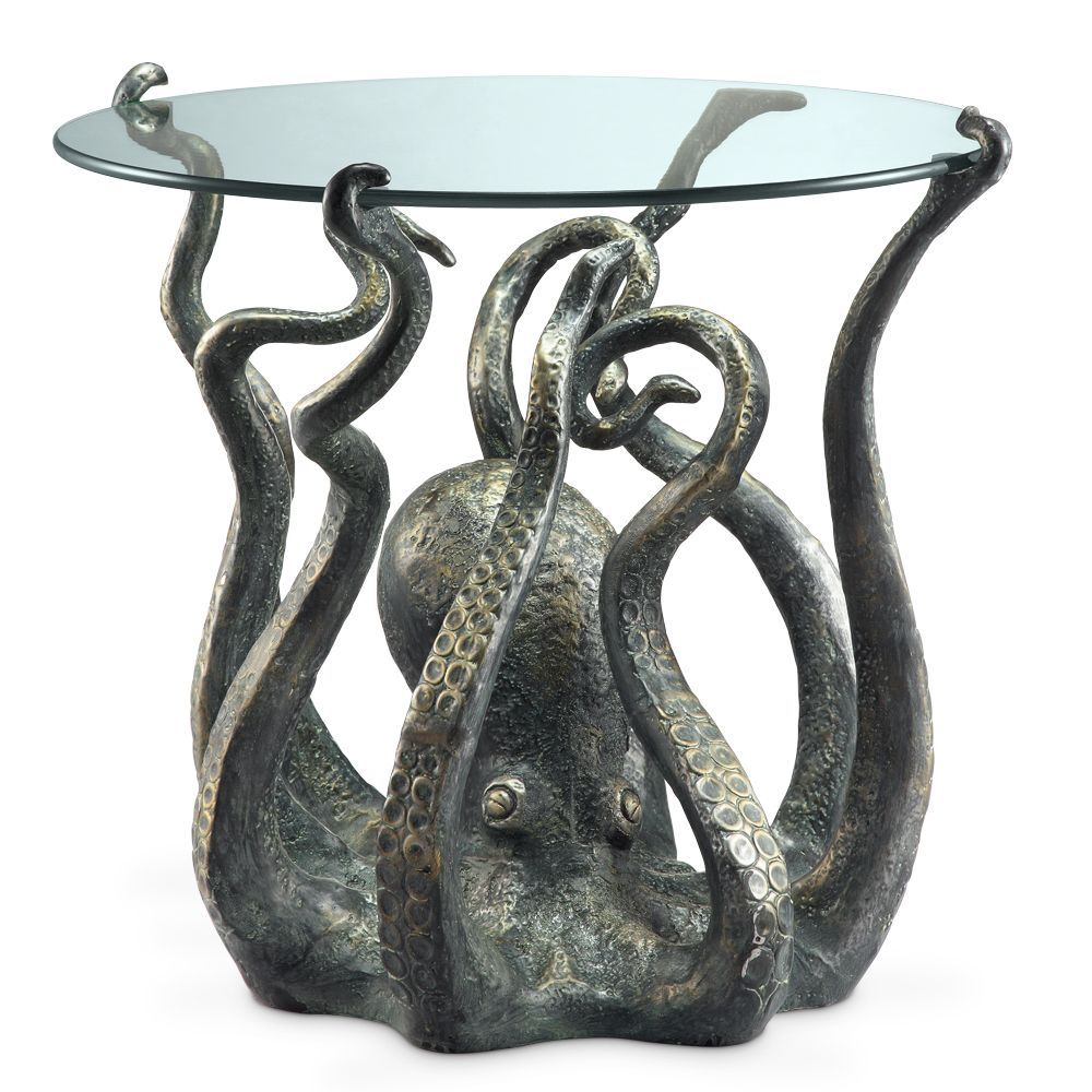 octopus table metal accent end coastal nautical ocean sculpture spi home sams patio furniture antique lamps white round side dining room light fixture plus tables solid cherry