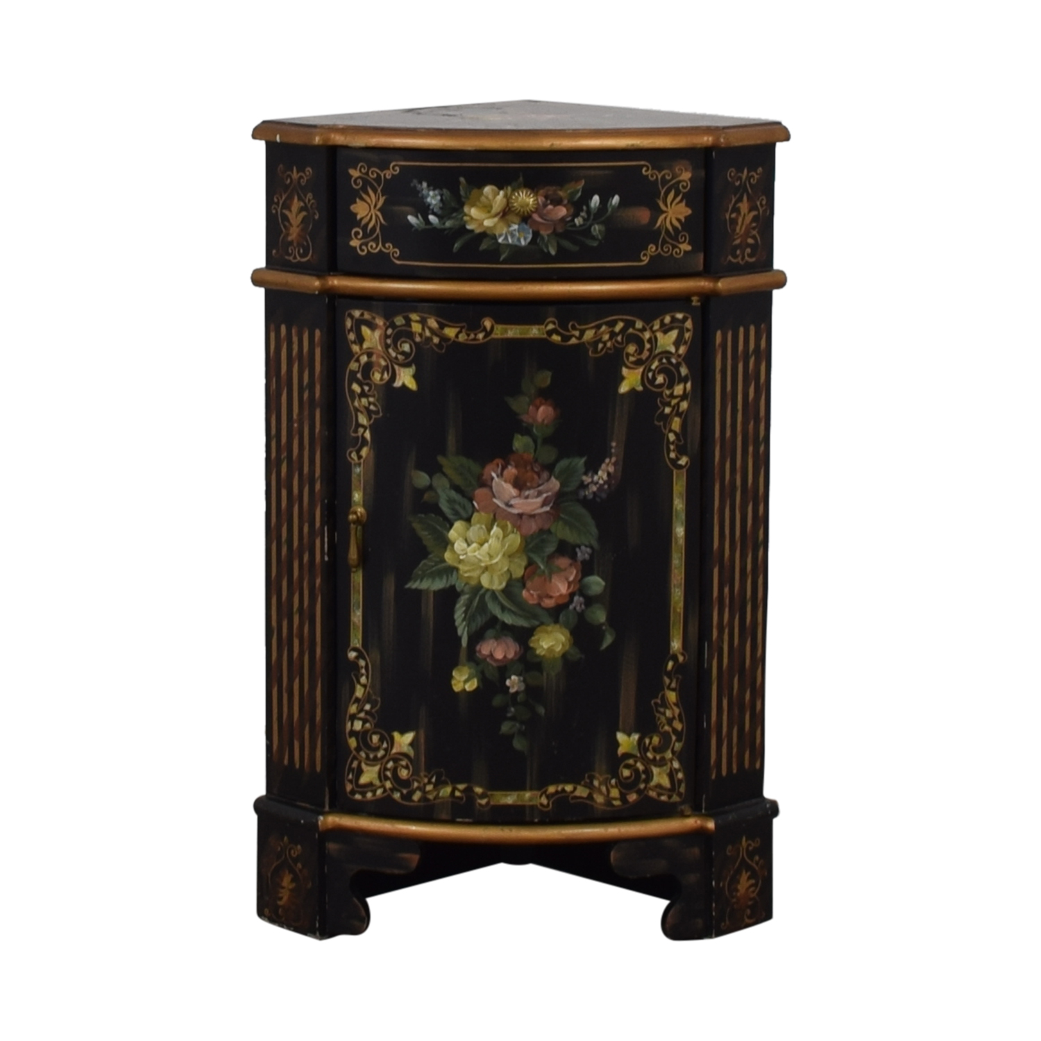 off antique black hand painted single drawer corner cabinet accent table tables small white desk designer lamp retro modern chairs outdoor furniture calgary cube storage unit ikea