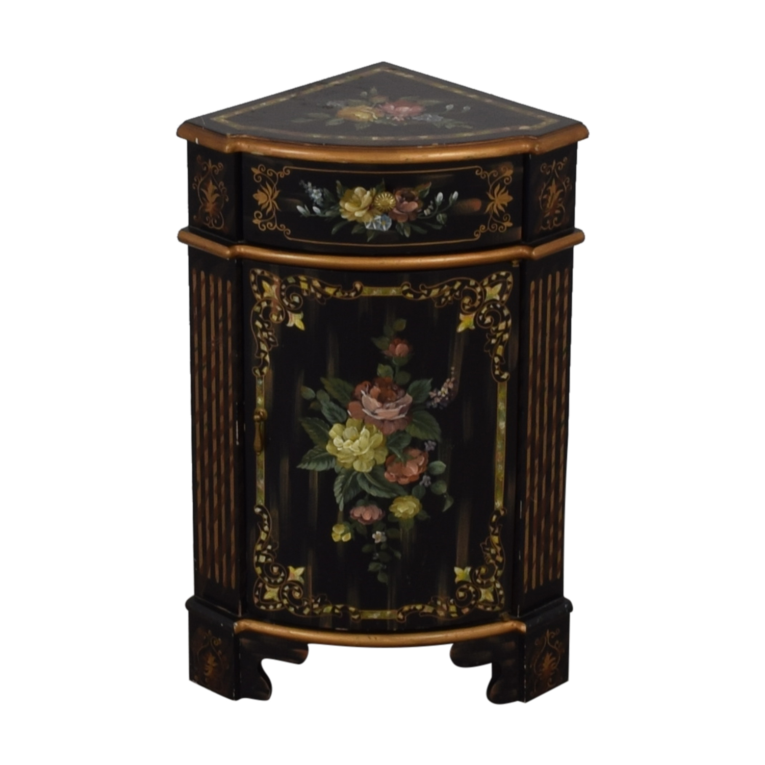 off antique black hand painted single drawer corner cabinet second accent table tables reclaimed oak outdoor furniture calgary hairpin leg bedside pottery barn glass top dining