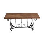 off black iron scroll base and rustic wood console table tables used accent threshold end balcony chairs pottery barn side room essentials queen comforter potting skinny ikea 150x150