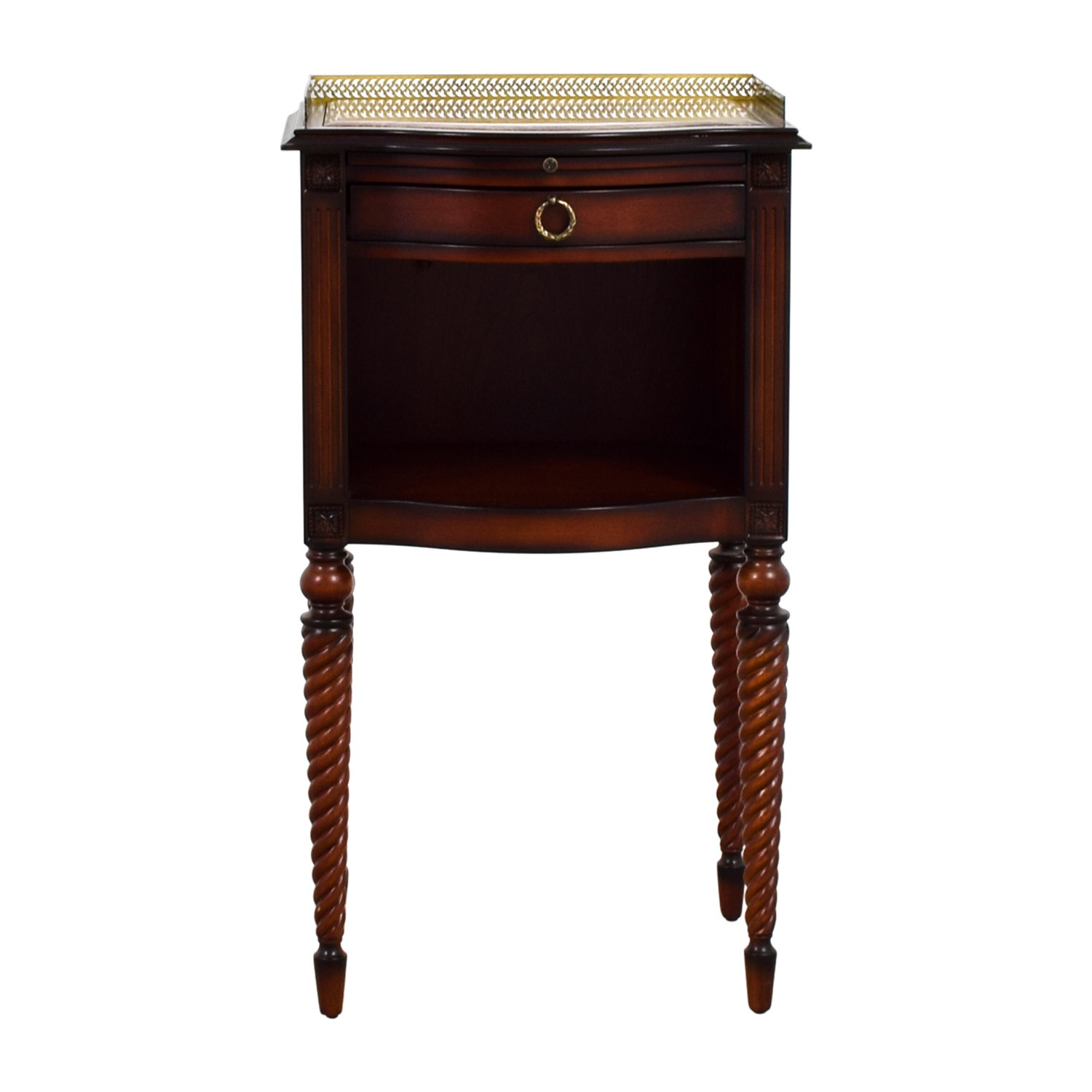 off bombay marble top with gold trim wood accent table drawer used old kitchen tables beach bedroom decor real coffee black rustic end metal hairpin legs wall unit furniture