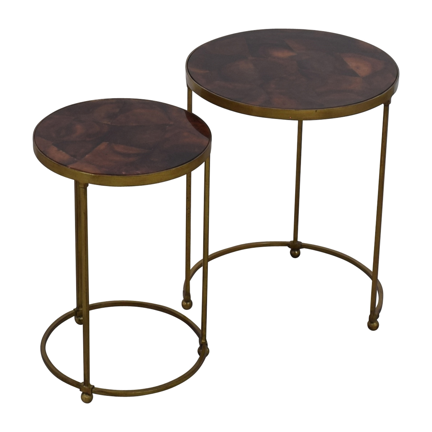 off carpet and home nesting round bronze brass accent tables used end table farmhouse with pipe legs natural edge wood sectional sofas edmonton kohls code danish dining stainless