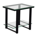 off crate and barrel barrelglass metal two shelf side table second hand accent tall narrow bedside hardwood floor threshold drop leaf with folding chairs hawthorne glass top small 150x150