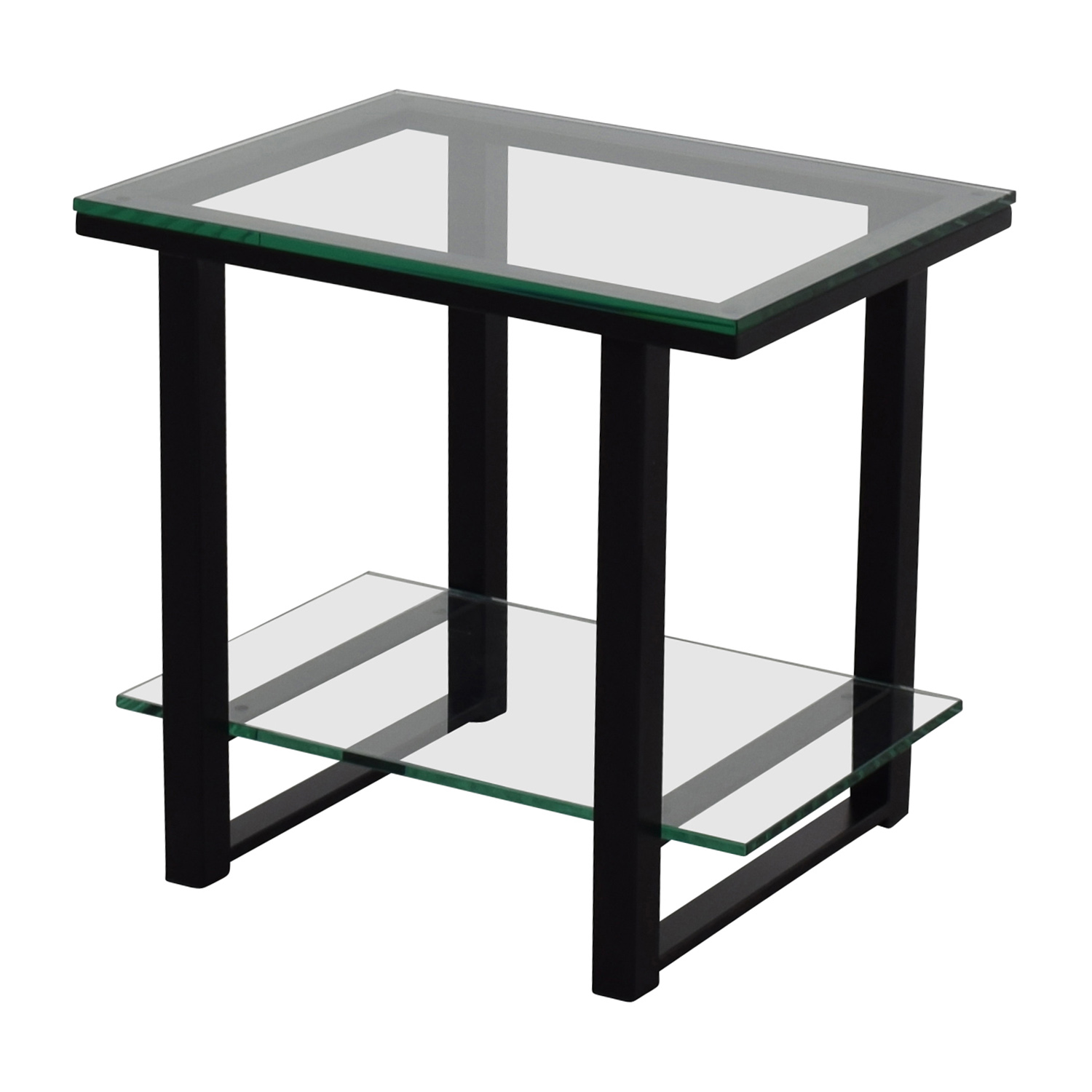 off crate and barrel barrelglass metal two shelf used side table accent with tables small teal pin legs low for living room gray coffee tall lamps bedroom solid wood end glass