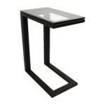 off crate and barrel parsons glass top black steel base table accent end tables between two chairs dining edmonton sears coffee high lighting hardwood floor threshold square 150x150