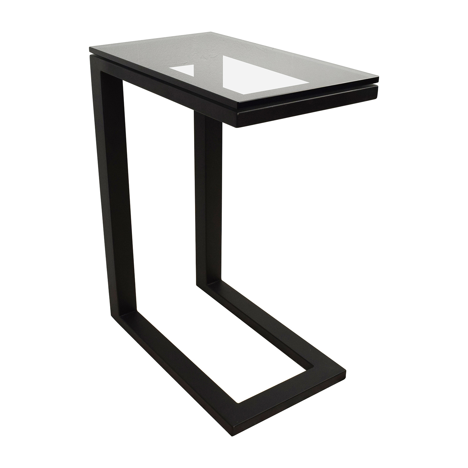 off crate and barrel parsons glass top black steel base table accent end tables between two chairs dining edmonton sears coffee high lighting hardwood floor threshold square