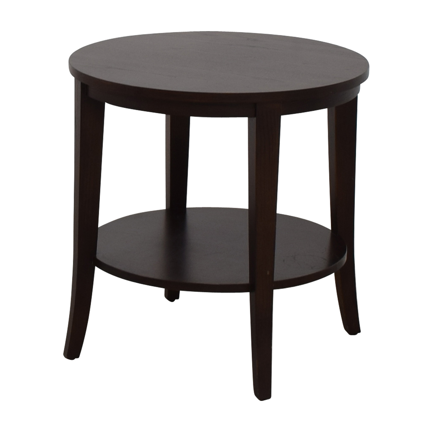 off ethan allen round wood accent table tables second hand oak antique drop leaf kitchen tablecloth steel and side small bedside lamps hammered metal coffee nate berkus best patio