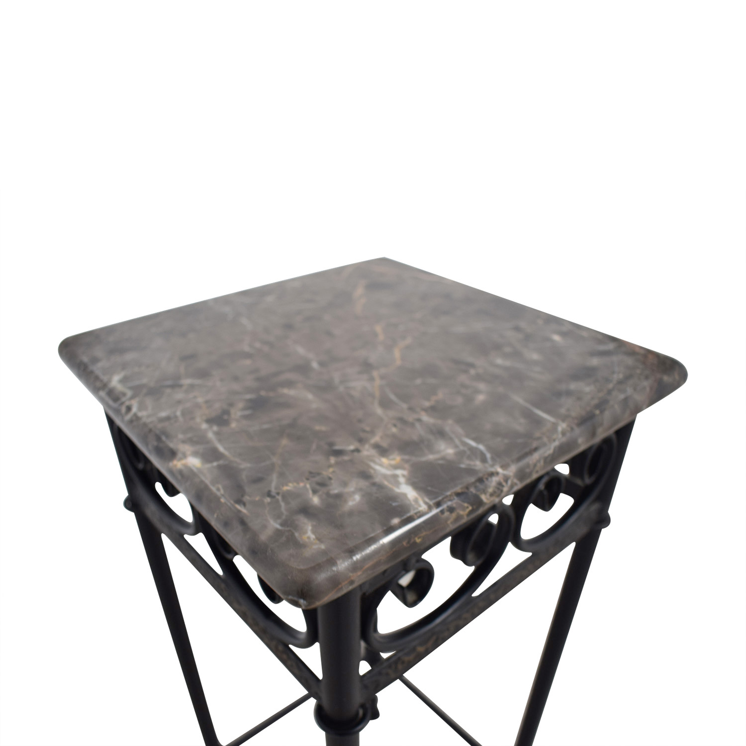 off faux marble with black metal base accent table tables second hand battery run lamps gloss coffee shelf bedroom chairs dining cover set oval outdoor bengal manor mango wood