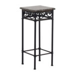 off faux marble with black metal base accent table tables second hand nesting console white elephant modern furniture brown patio side hampton bay website runner and placemats set 150x150