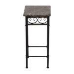 off faux marble with black metal base accent table tables used counter height bar cream colored nightstand grey dining room chairs patio depot glass top end garden storage 150x150