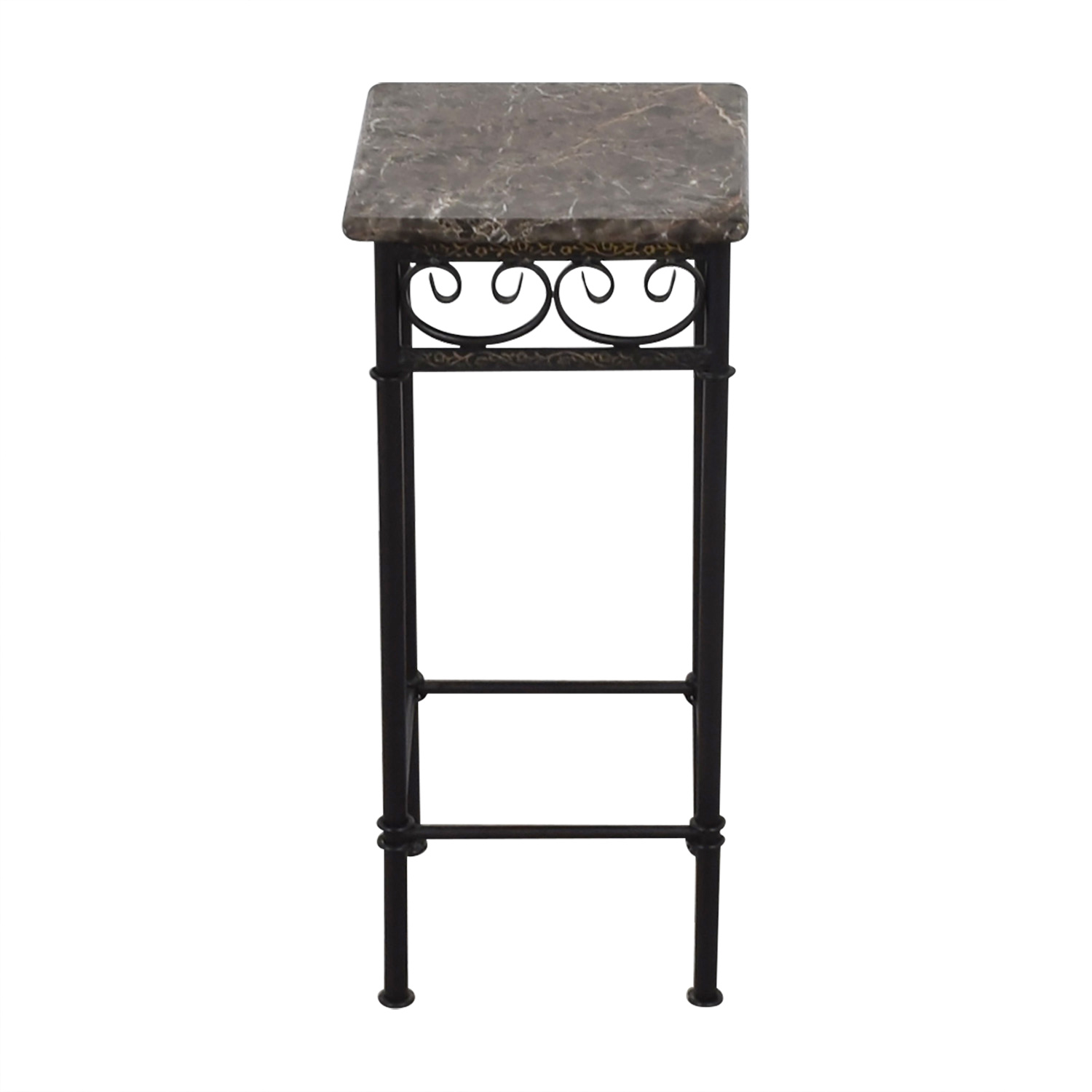 off faux marble with black metal base accent table tables used counter height bar cream colored nightstand grey dining room chairs patio depot glass top end garden storage