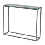off glass and chrome console table tables used metal accent sofa with shelf nyc outdoor patio umbrella bar bunnings vintage make your own barn door ikea white storage box corner 150x150