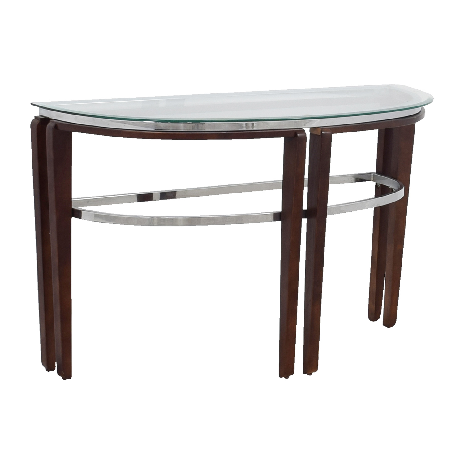 off glass and wood half hallway table tables second hand accent outdoor patio chairs target small coffee long thin garden furniture clearance threshold windham cabinet cream