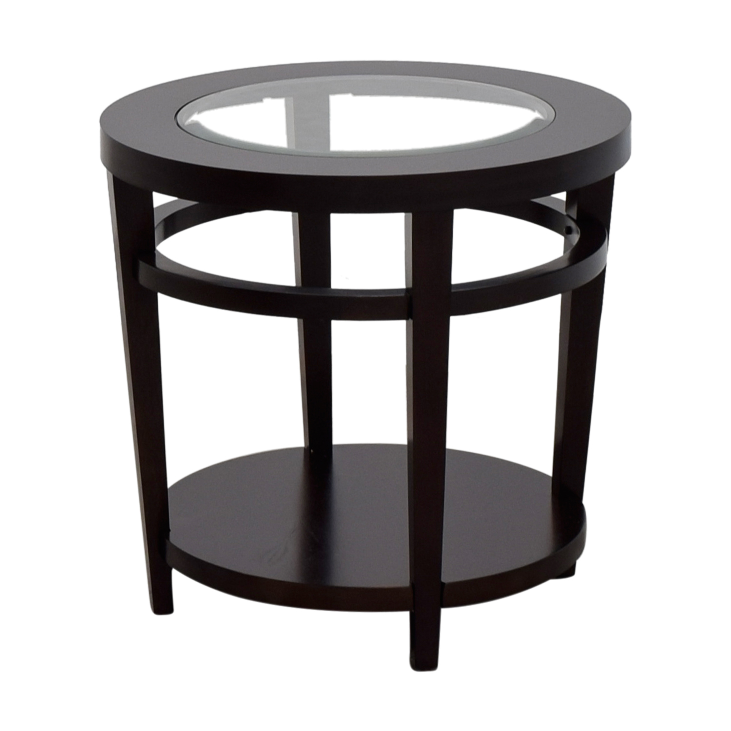 off macy avalon round wood and glass side table tables used macys accent for mirrored kitchen mats person square dining orange lamp coffee end set turned furniture legs inch