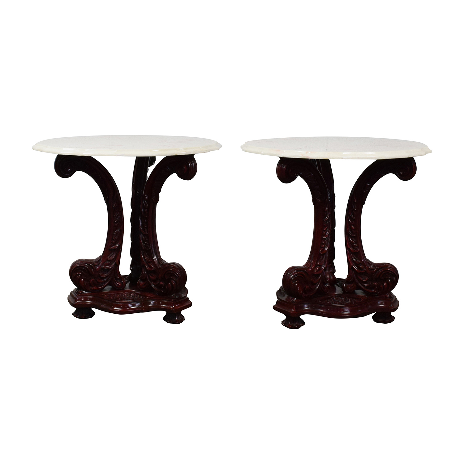 off marble top end tables with burgundy wood base white table gold accent nightstand kitchener set plant trellis low living room dog cage bath and beyond bedspreads contemporary