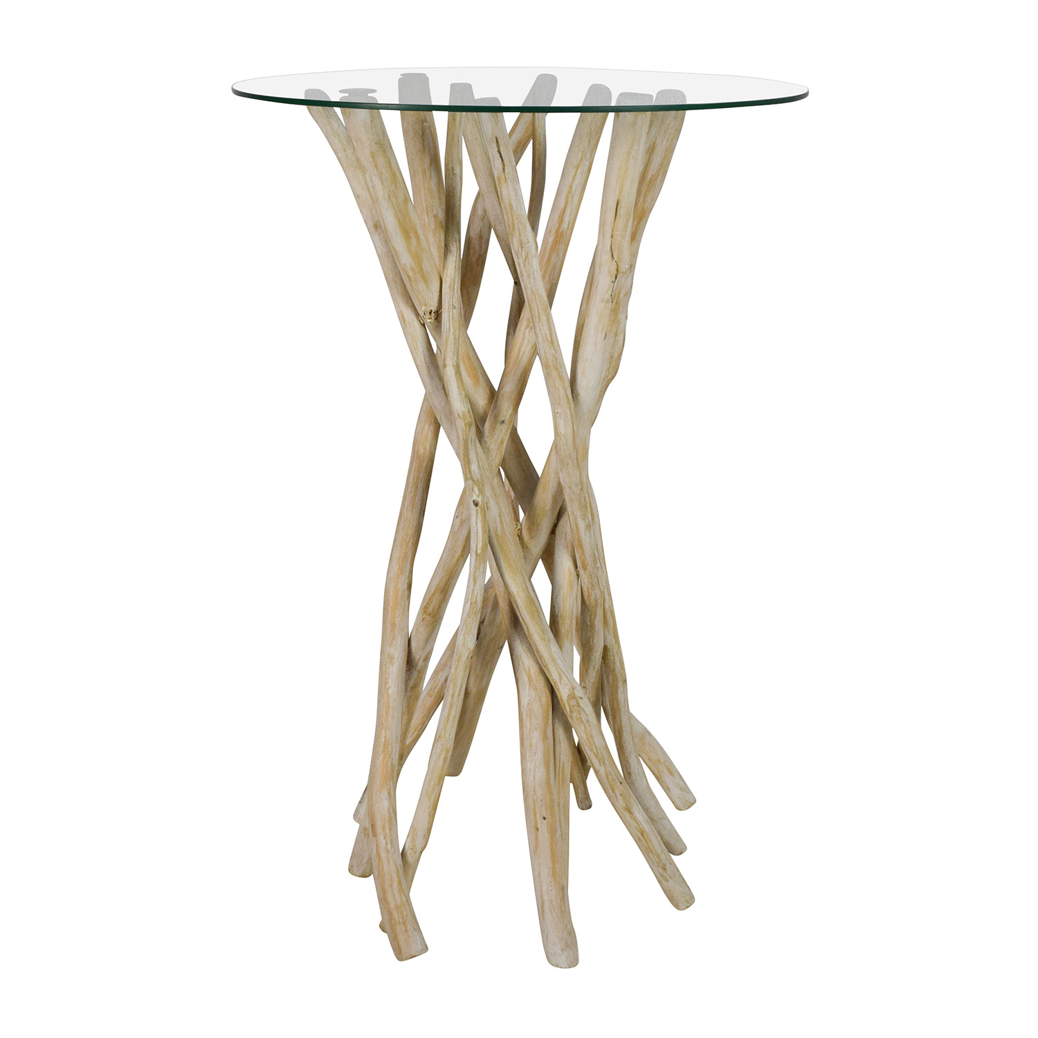 off nadeau rustic wood handcrafted tall glass top end table used pedestal accent battery floor lamp patio umbrella with solar lights ashley furniture sofa cream round side golden