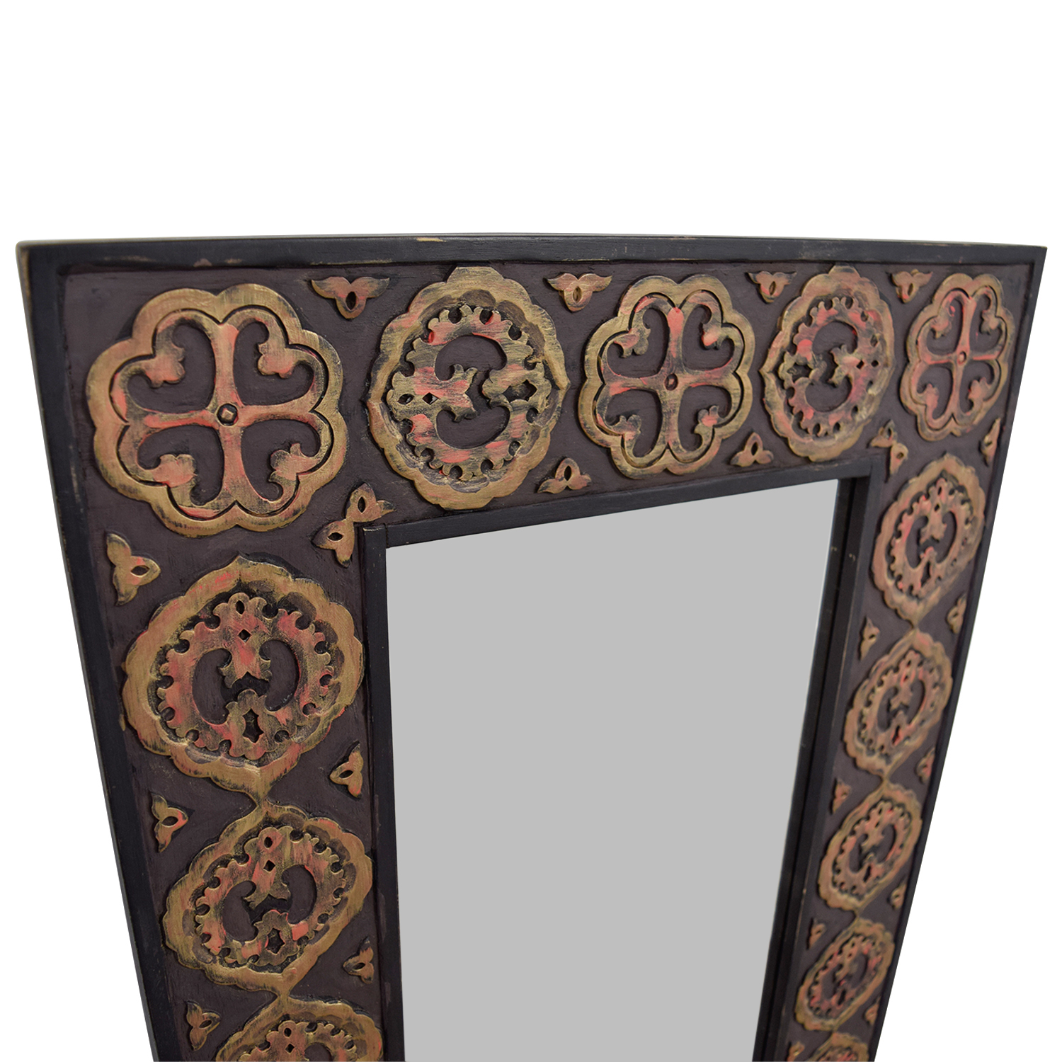 off pier imports one mirror with rustic gold emblemed frame second hand mirrored accent table dimensions reclaimed wood pub high top and bar stools outdoor storage containers