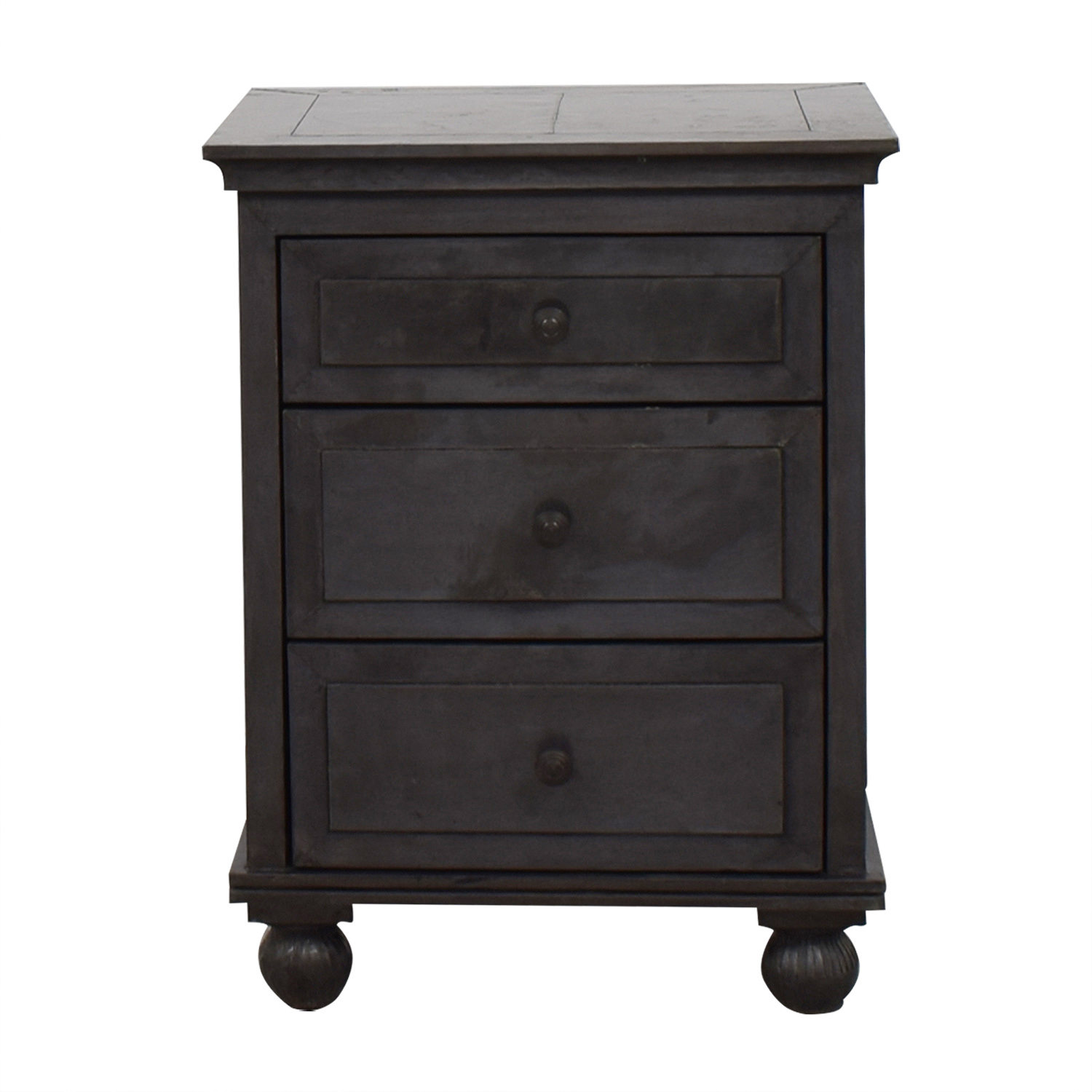 off restoration hardware annecy metal zinc finish three drawer end table accent wrapped nightstand with counter height ikea multi colored chest target kids desk tall console