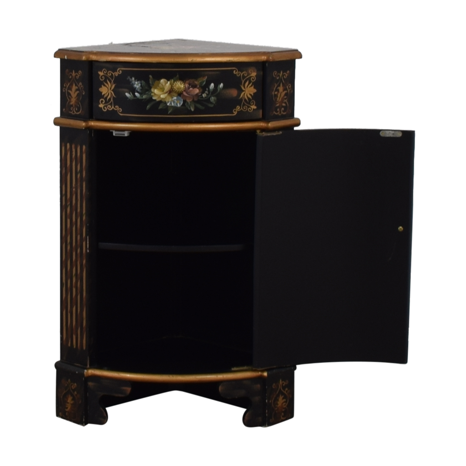 off west elm dark wooden console tables antique black hand painted single drawer corner cabinet used accent table breakfast nook office desk furniture indoor bistro round dining