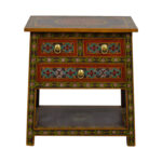 off world market wood floral painted two drawer accent table dining with sofa seating stylish coffee edison bulb lamp black metal legs room placemats pier imports indoor nautical 150x150