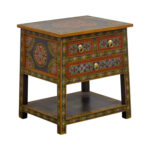 off world market wood floral painted two drawer accent table second hand tables dining room placemats grey wingback chair nightstand with drawers gold pieces pool furniture 150x150